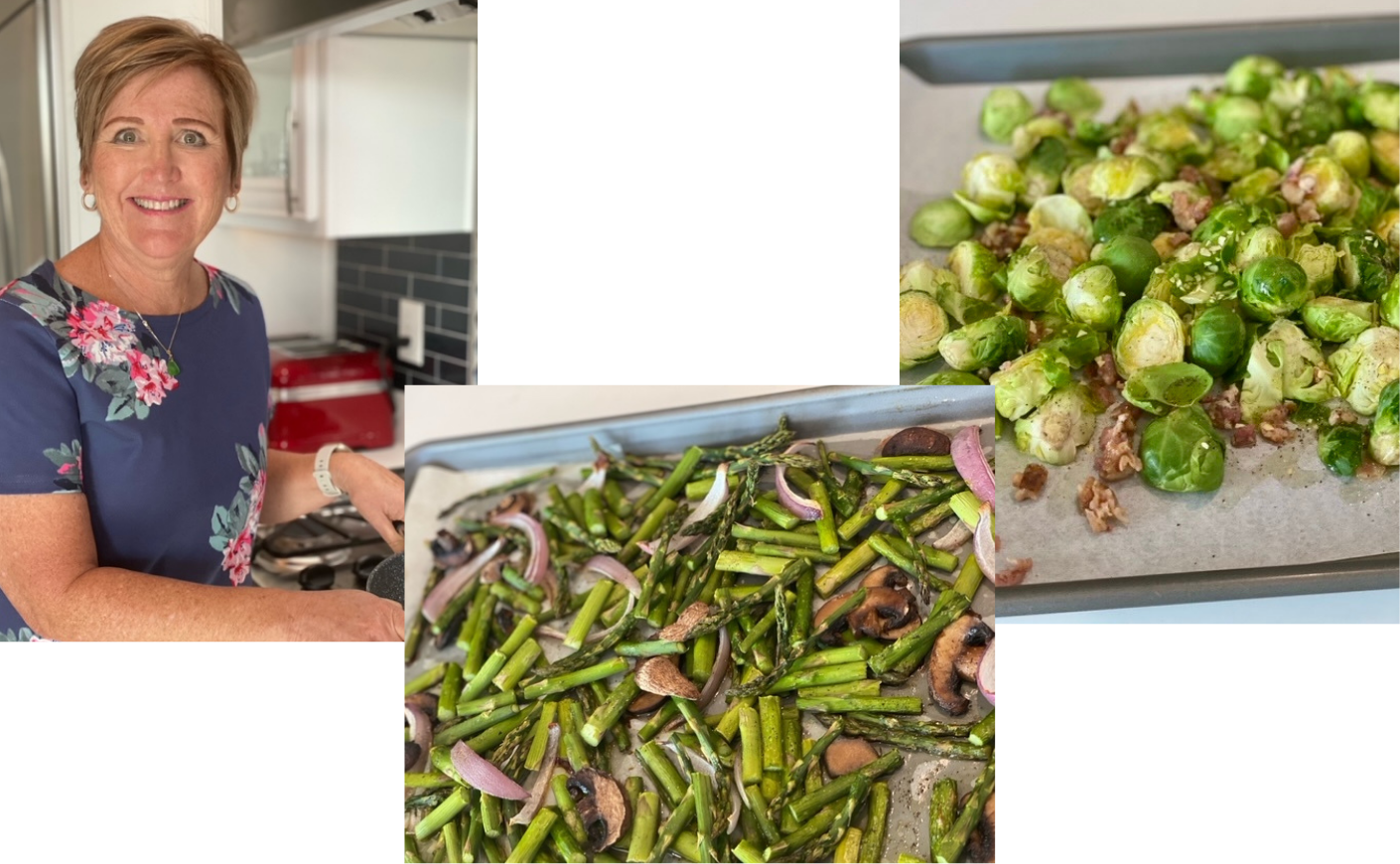 Woman, asparagus, brussels sprouts